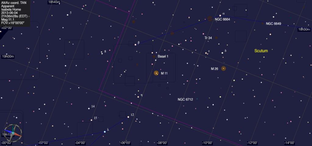 Mapa estelar de Messier 11.