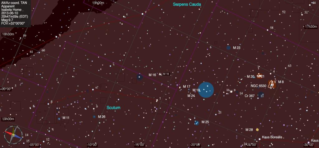 Mapa estelar de Messier 16.