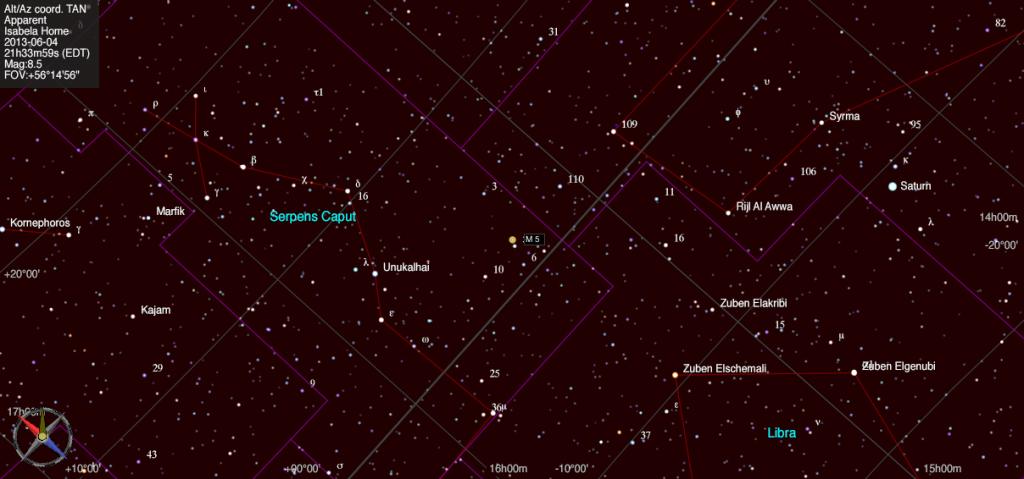 Mapa estelar de Messier 5.