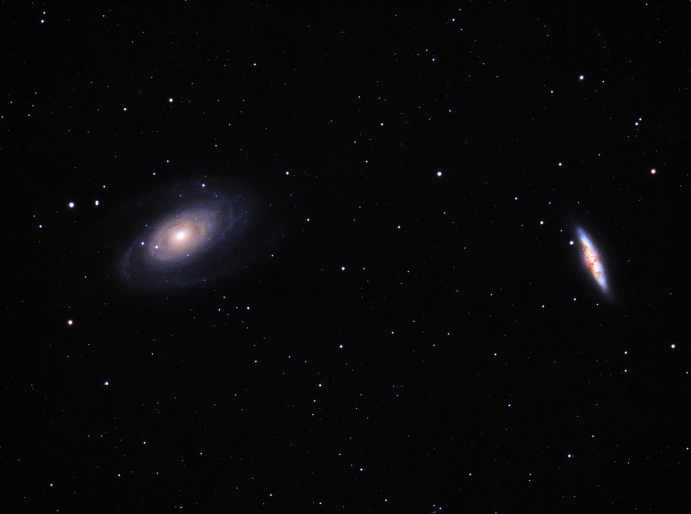 Messier 81 & Messier 82 en la constelación de la Osa Mayor. Crédito: Gustavo Sánchez/Observatorio Guajataca.