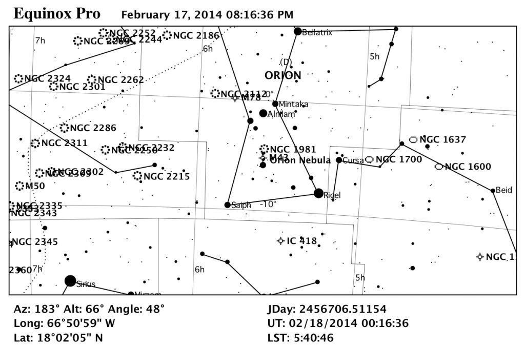Mapa Estelar de Messier 42.