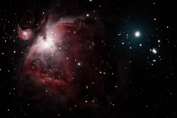 Messier 43 - Nebulosa de De Mairan, localizada en la parte superior izquierda de la Gran Nebulosa de Orión. (Credito: Observatorio Guajataca)