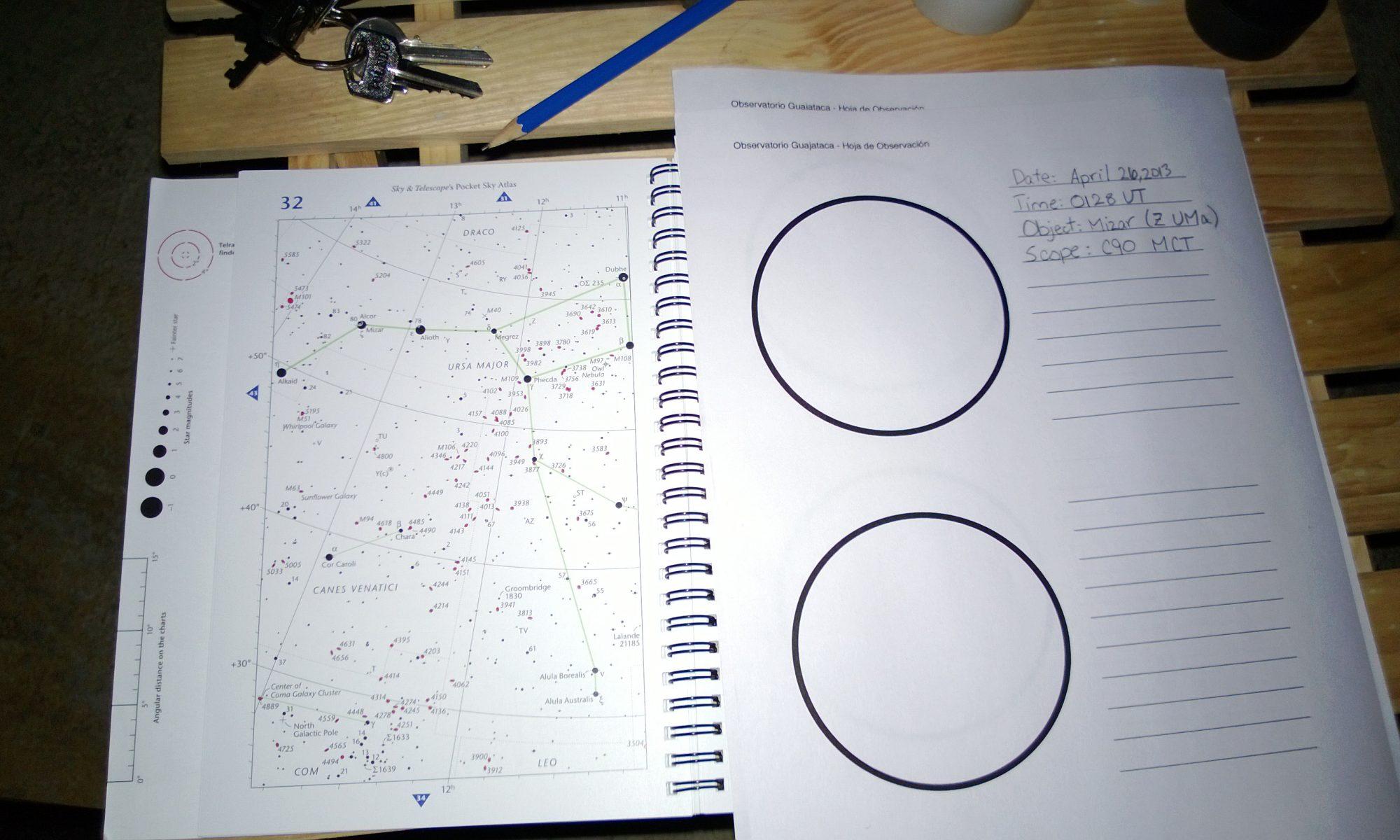 Creando bocetos del campo visual durante la observación de estrellas dobles.