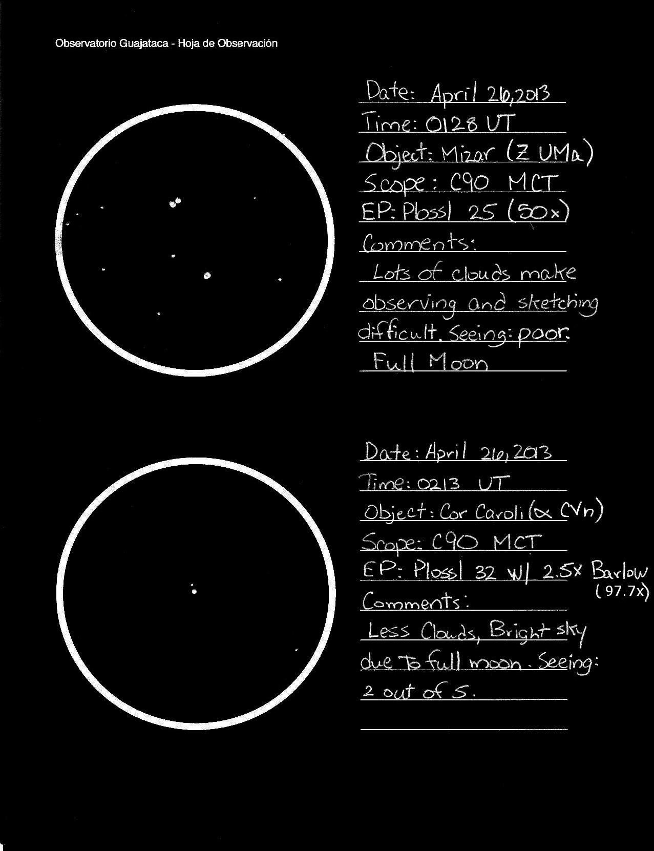 Observación de las estrellas dobles Mizar y Cor Caroli. (Crédito: Observatorio Guajataca)