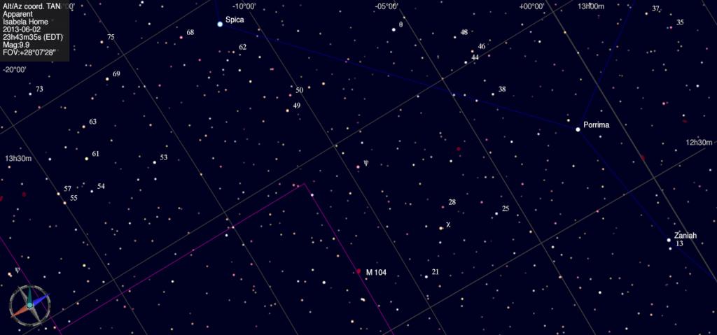 Mapa estelar de Messier 104.