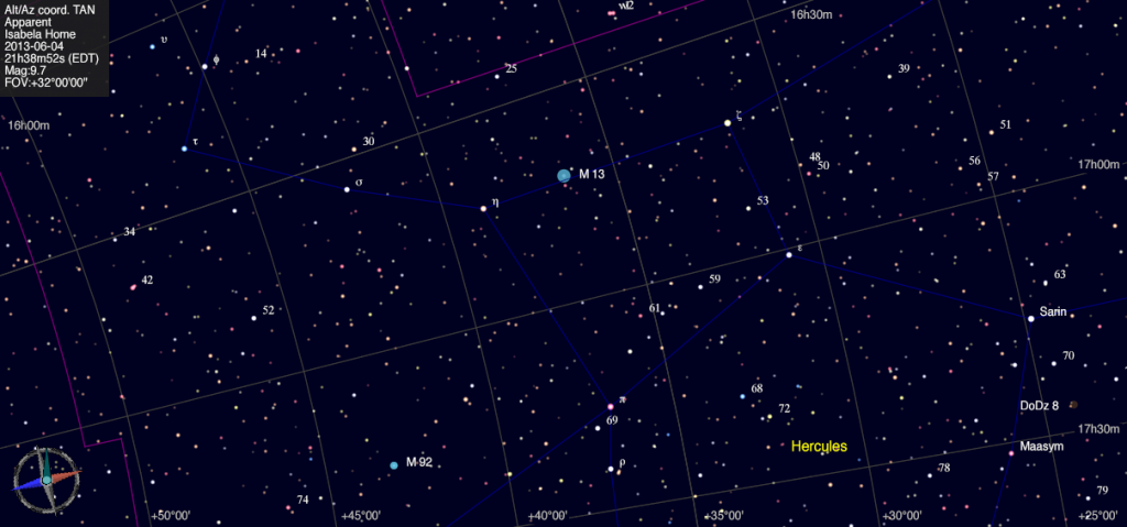 Mapa estelar de Messier 13.