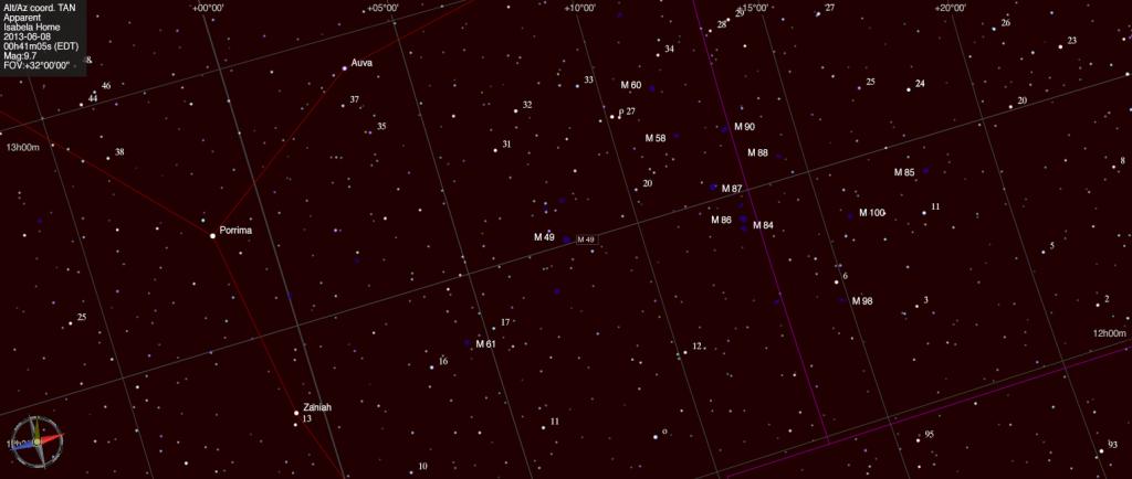 Mapa estelar de Messier 49.