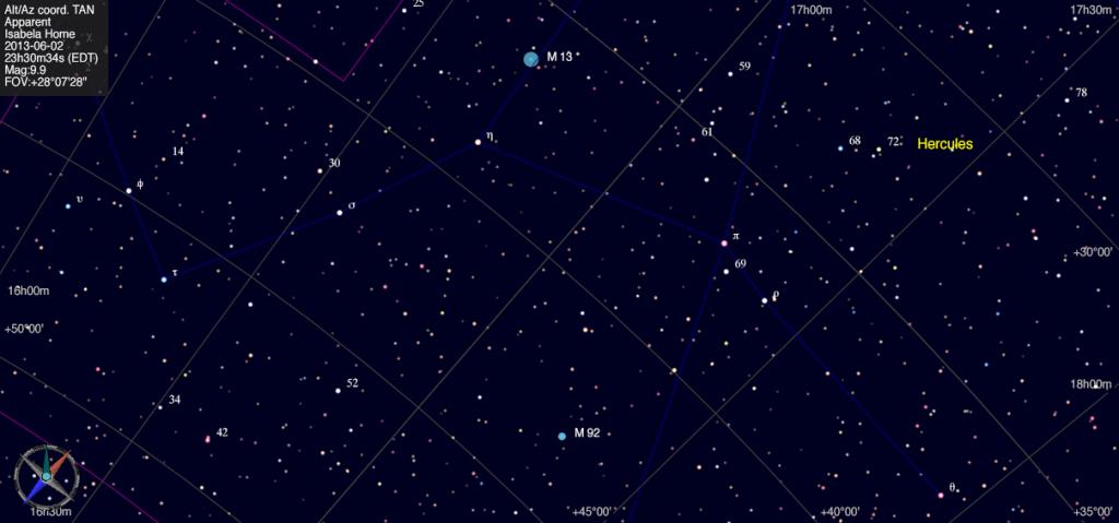 Mapa estelar de Messier 92.