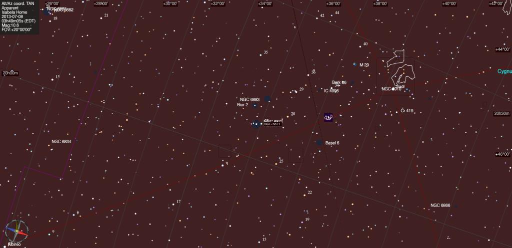 Mapa estelar de NGC 6871.
