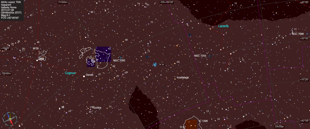 Mapa estelar de Messier 39.