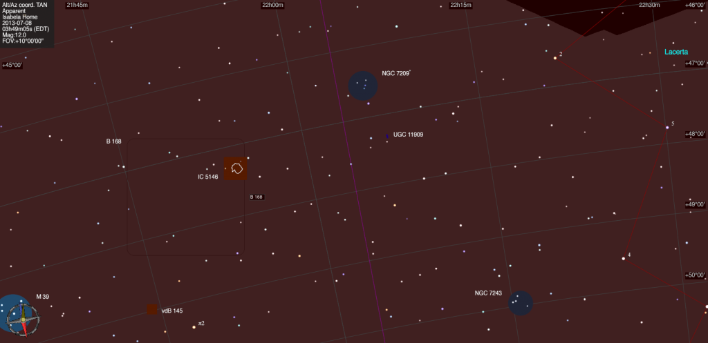 Mapa estelar de IC 5146.