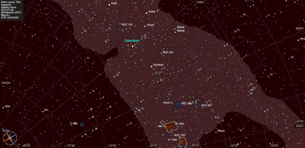 Mapa estelar de Messier 103.