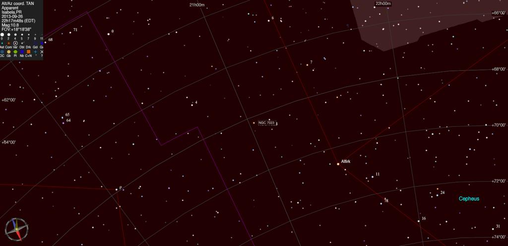 Mapa estelar de NGC 7023.