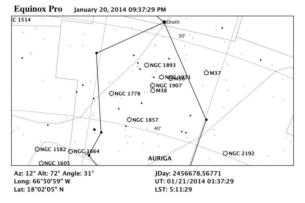 Mapa estelar de Messier 38.