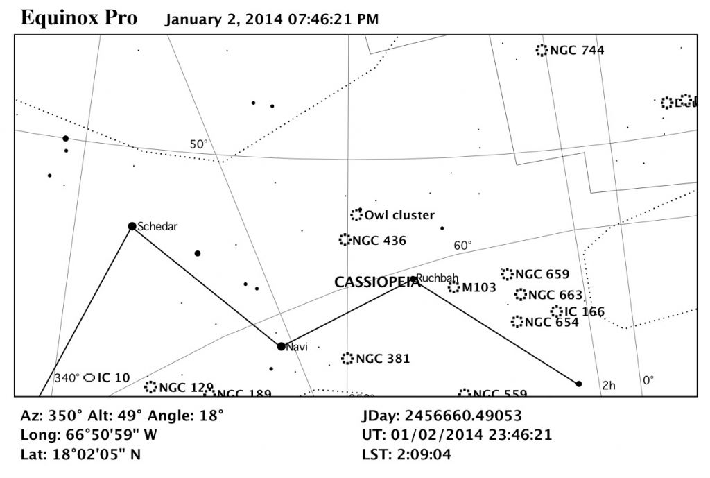 Mapa Estelar de NGC 457.