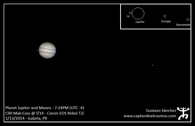 Planeta Júpiter y sus lunas Io, Europa, y Ganímedes.