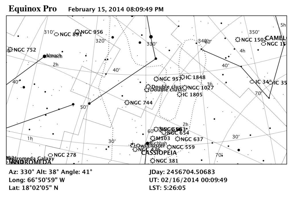 Mapa estelar del Cúmulo Doble en Perseo.