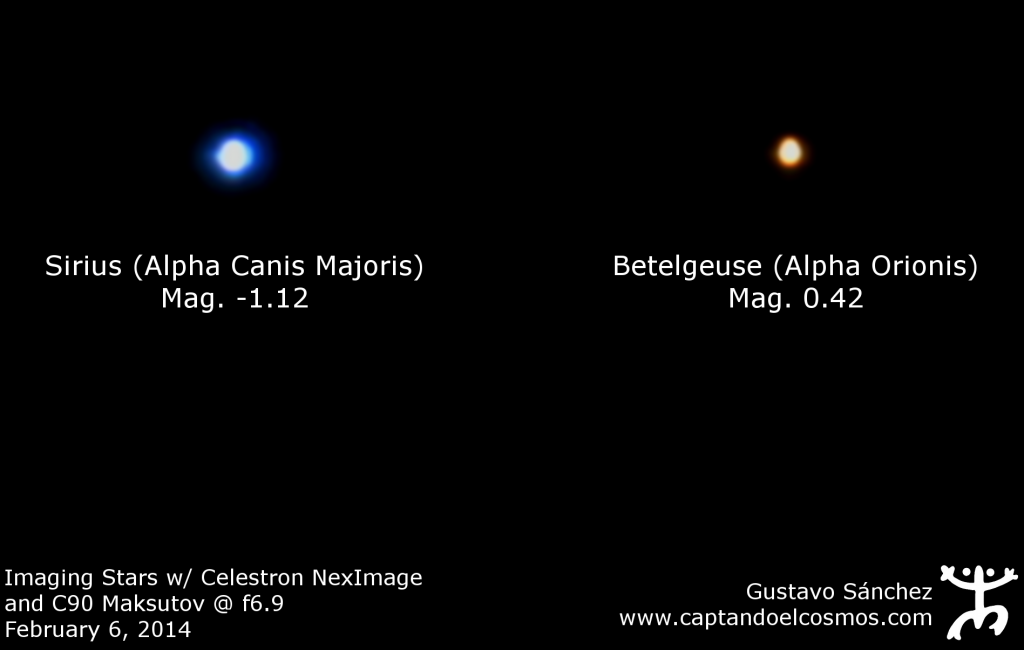 Sirius y Betelgeuse capturadas con la webcam NexImage y el Maksutov C90 @f/6.9
