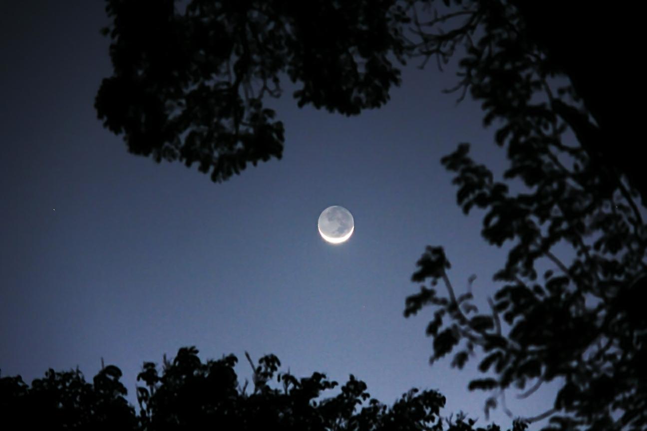 Luna creciente desde Isabela, PR. Crédito: Gustavo Sánchez/Captando el Cosmos