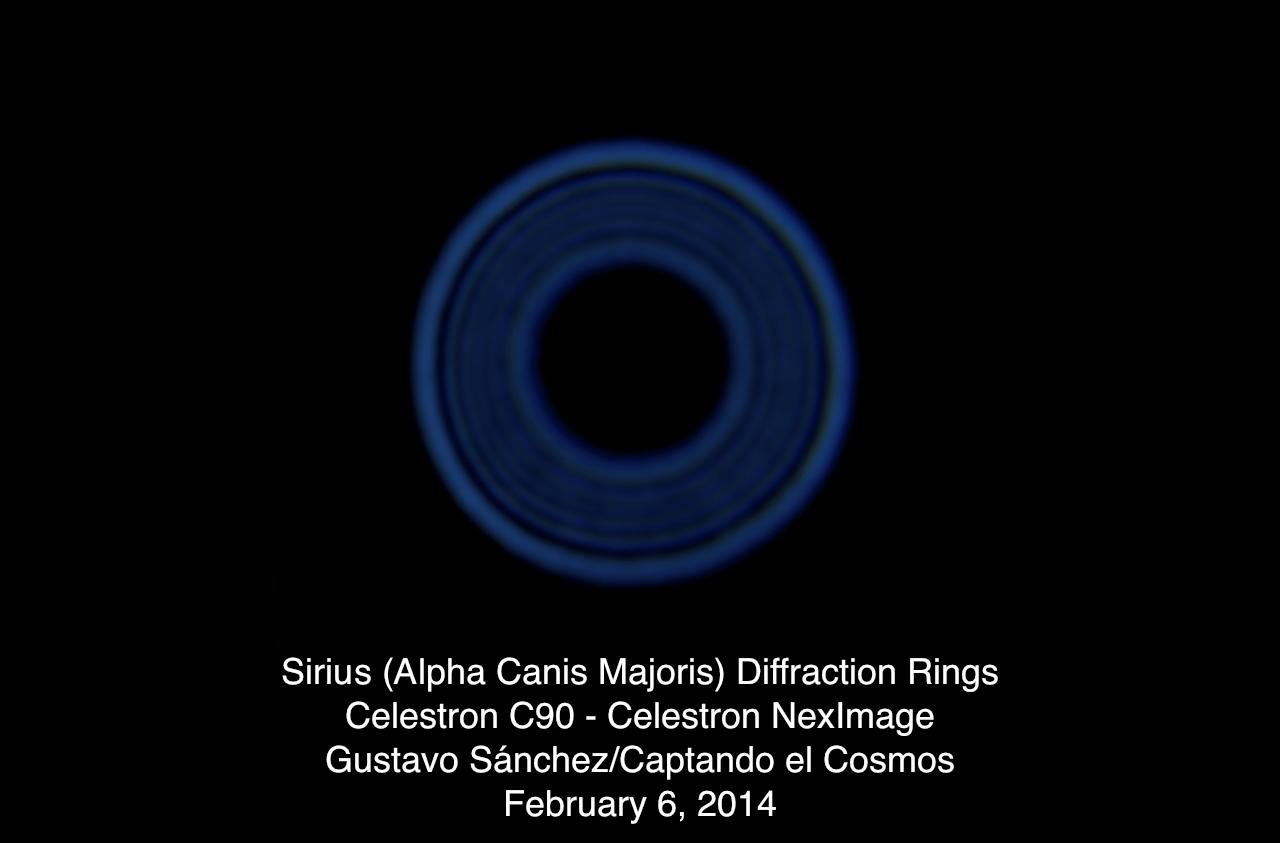 Anillos de difracción captados a través del telescopio C90 usando una cámara NexImage.