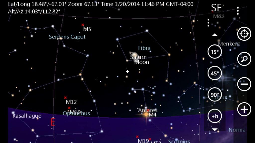 Mapa estelar de la conjunción entre Saturno y la Luna.