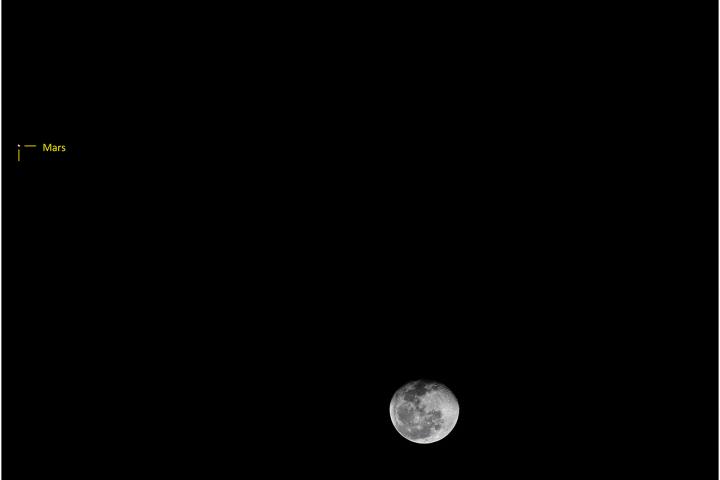 Triple conjunción de la Luna, Marte y Spica. Crédito: Gustavo Sánchez/Captando el Cosmos
