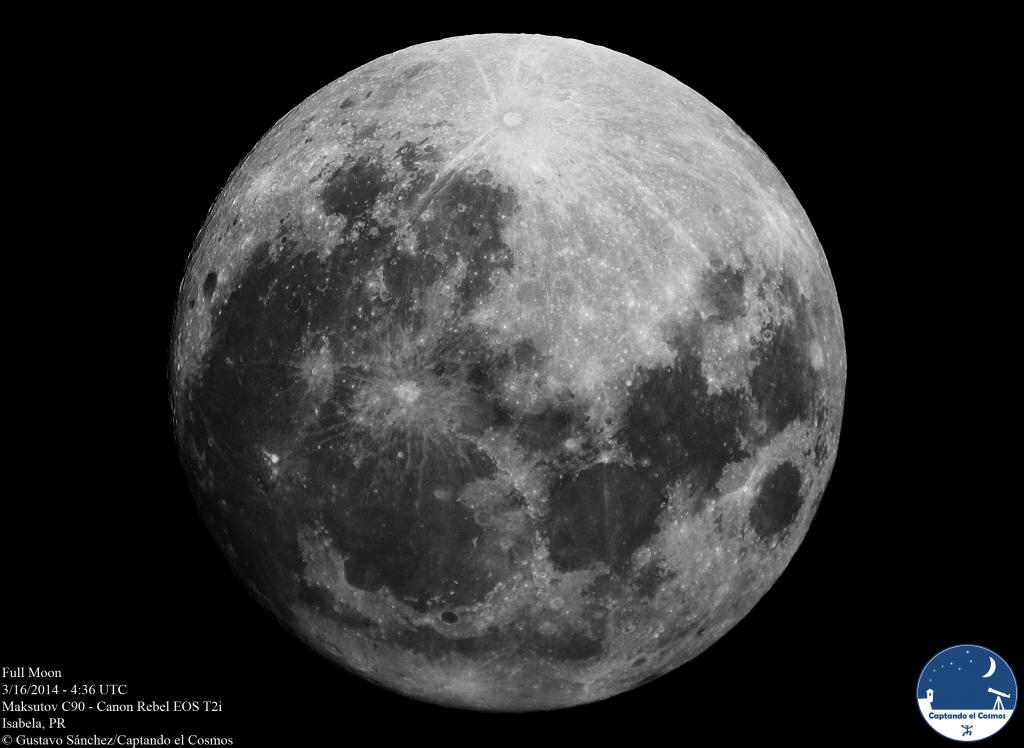 Luna llena, 16 de marzo de 2014. Crédito: Gustavo Sánchez/Captando el Cosmos