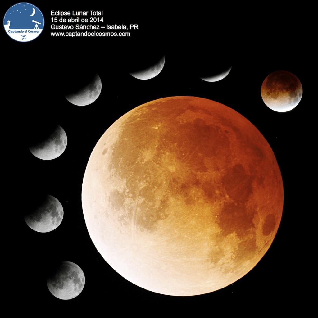 Mosaico de imágenes del eclipse lunar visto desde Isabela, PR. Crédito: Gustavo Sánchez/Captando el Cosmos.