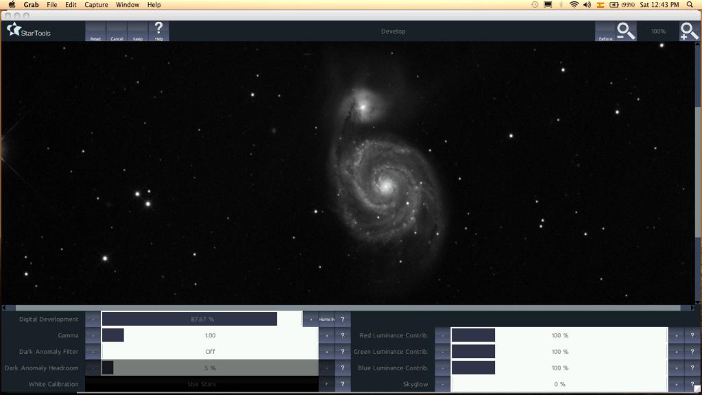 La imagen desarrollada en el módulo de Develop.