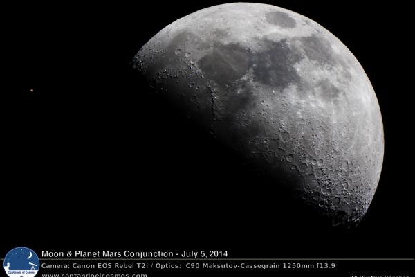 Conjunción del planeta Marte y la Luna. 5 de julio de 2014. Crédito: Gustavo Sánchez/Captando el Cosmos