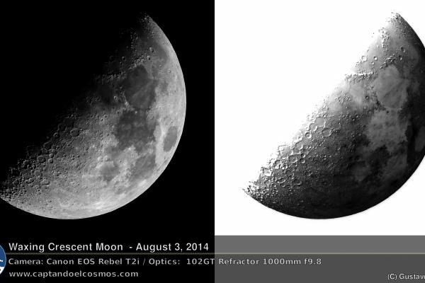 Luna creciente, 3 de agosto de 2014. Crédito: Gustavo Sánchez ...