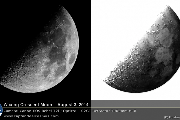 Luna creciente, 3 de agosto de 2014. Crédito: Gustavo Sánchez/Captando el Cosmos.