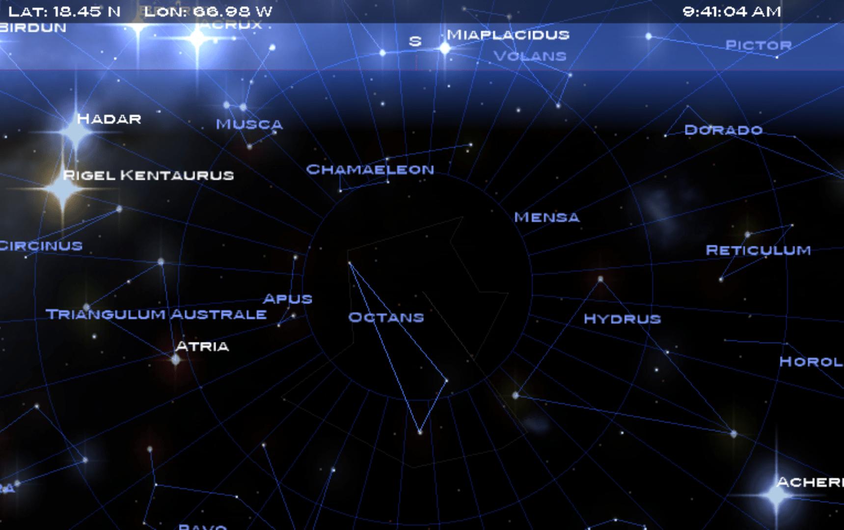 La constelación de Octante es imposible de ver desde Puerto Rico ni latitudes mayores de 0 grados.