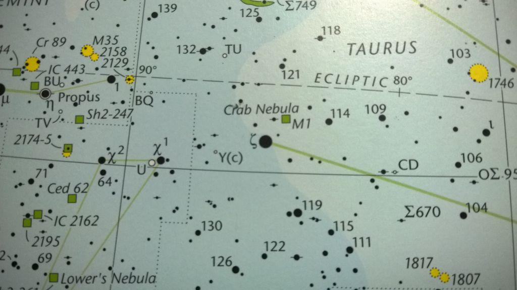 Mapa estelar para encontrar a la Nebulosa del Cangrejo, bien cerca de Lambda Tauri.