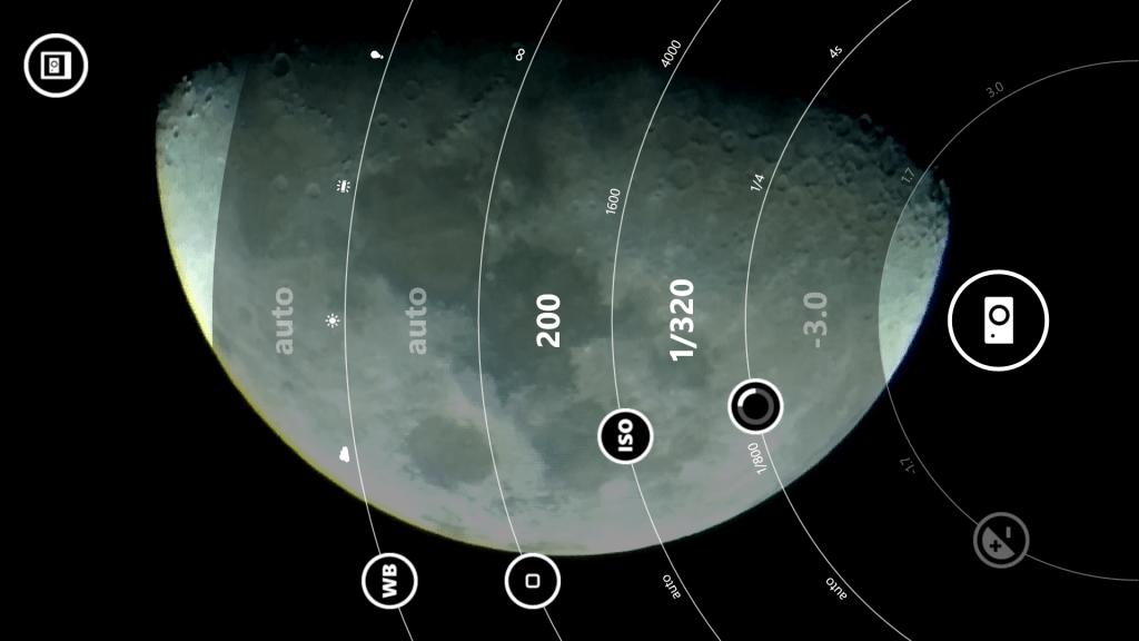 Opciones de captura de imágenes en el Lumia 1520.