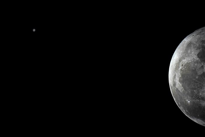 Conjunción de Júpiter y la Luna. Crédito: Gustavo Sánchez/Captando el Cosmos.