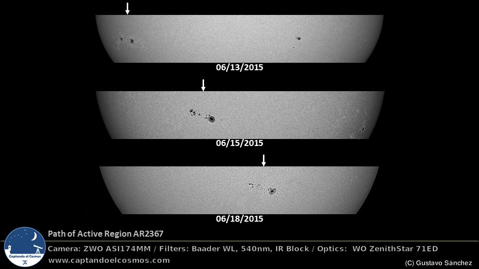 Movimiento del grupo de manchas solares AR2367 observado desde el 13 de junio hasta el 18 de junio de 2015. Crédito: Gustavo Sánchez/Captando el Cosmos