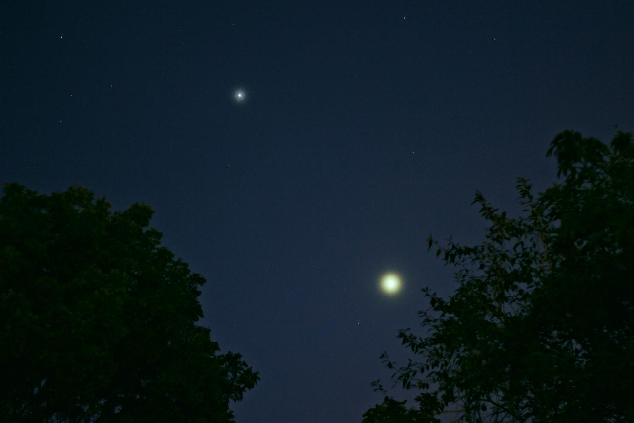 Júpiter y Venus en el cielo vespertino de Isabela. Crédito: Gustavo Sánchez/Captando el Cosmos