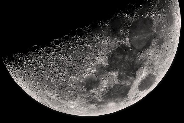 Luna en Cuarto Creciente. Crédito: Gustavo Sánchez/Captando el Cosmos.