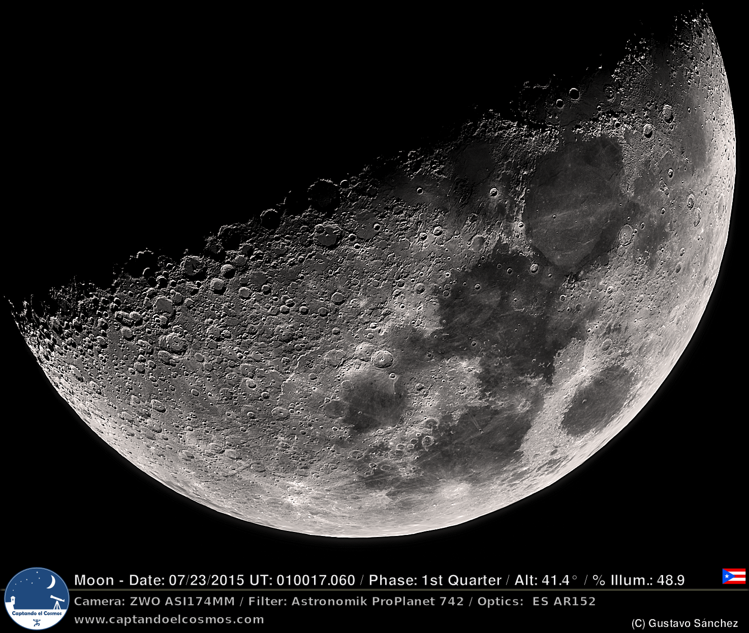 Luna en Cuarto Creciente 23-julio-2015 – Captando el Cosmos