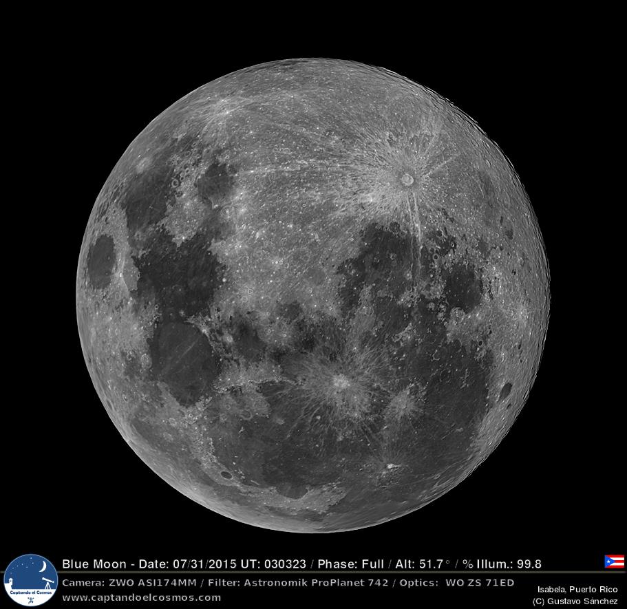 Luna Azul 30-31 julio 2015. Crédito: Gustavo Sánchez/Captando el Cosmos