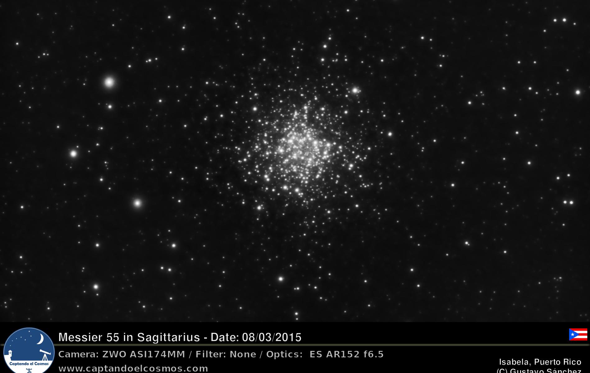 Cúmulo estelar Messier 55. Crédito: Gustavo Sánchez / Captando el Cosmos.