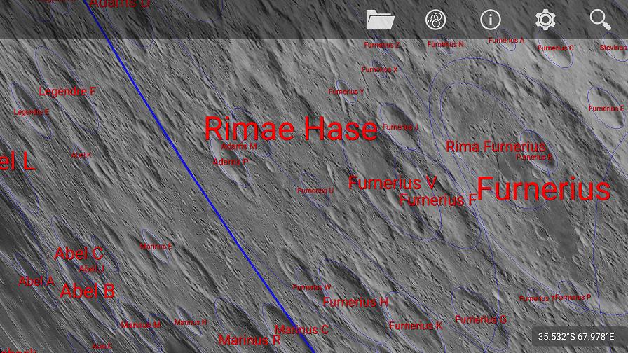 Rimae Hase y el cráter Furnerius.