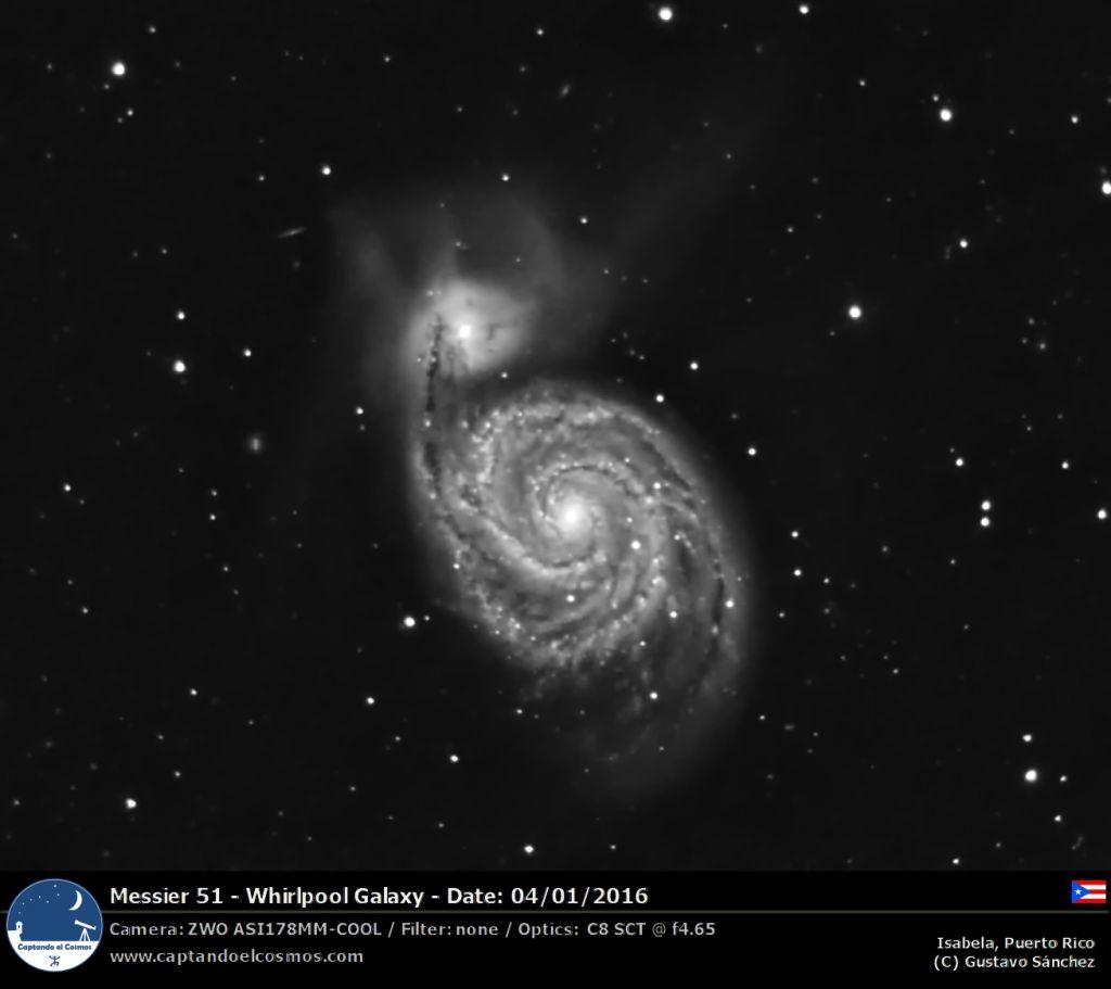 Galaxia Remolino (Messier 51). Crédito: Gustavo Sánchez
