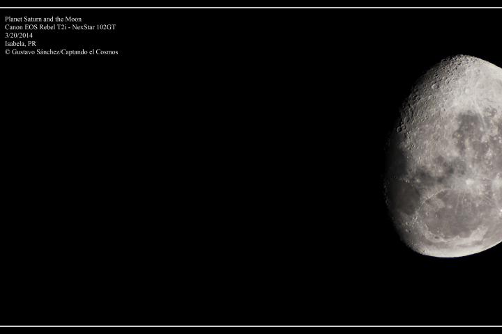 Conjunción entre el planeta Saturno y la Luna. Crédito: Gustavo Sánchez/Captando el Cosmos.